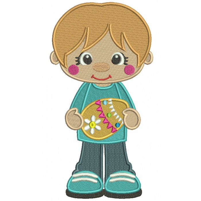 Little Boy Holding Easter Egg Filled Machine Embroidery Design Digitized