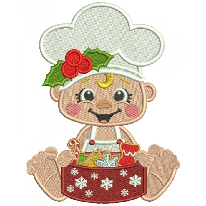 Little Cook With Box Of Cookies Christmas Filled Machine Embroidery Design Digitized Pattern