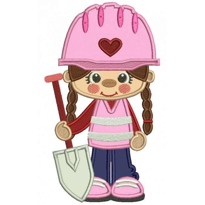 Little Cute Construction Girl Holding a Shovel Applique Machine Embroidery Design Digitized Pattern