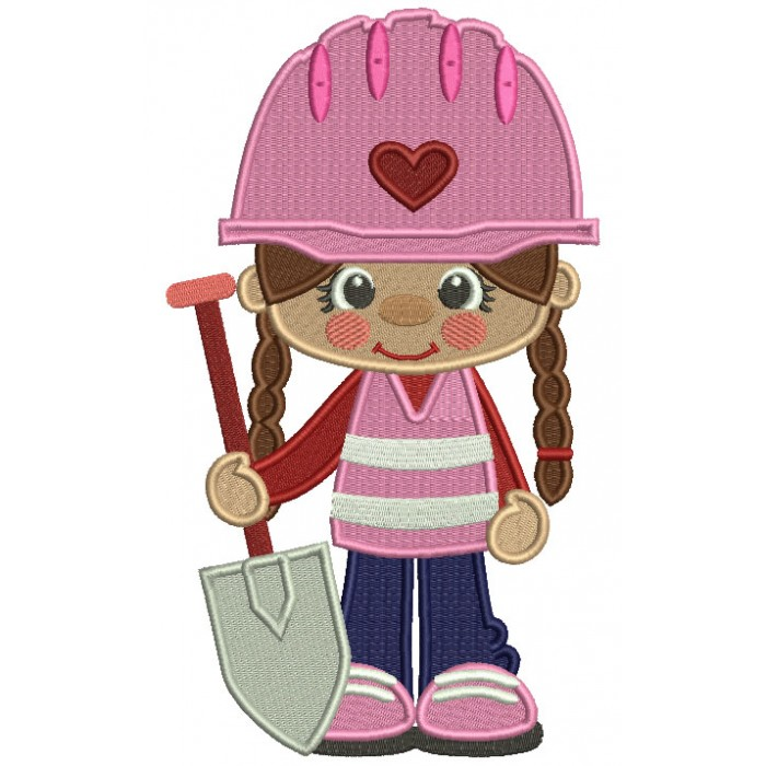 Little Cute Construction Girl Holding a Shovel Filled Machine Embroidery Design Digitized Pattern
