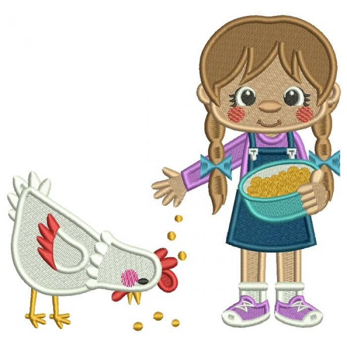 Little Girl Feeding a Rooster Filled Machine Embroidery Digitized Design Pattern