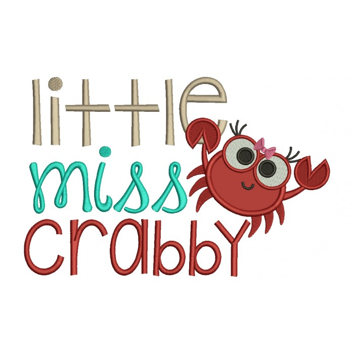 Little Miss Crabby Applique Machine Embroidery Design Digitized Pattern