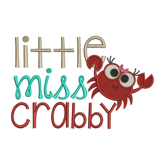 Little Miss Crabby Filled Machine Embroidery Design Digitized Pattern