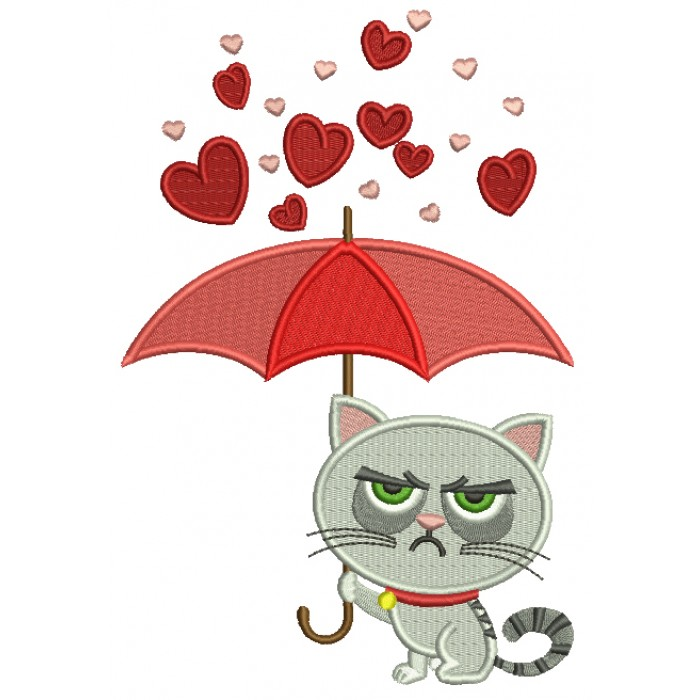 Looks Like Grumpy Cat Holding Umbrella Filled Machine Embroidery Design Digitized Pattern