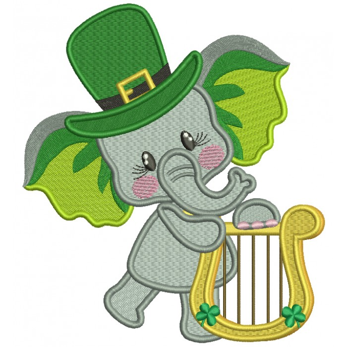 Lucky Elephant Wearing Playing Harp St. Patrick's Filled Machine Embroidery Design Digitized Pattern