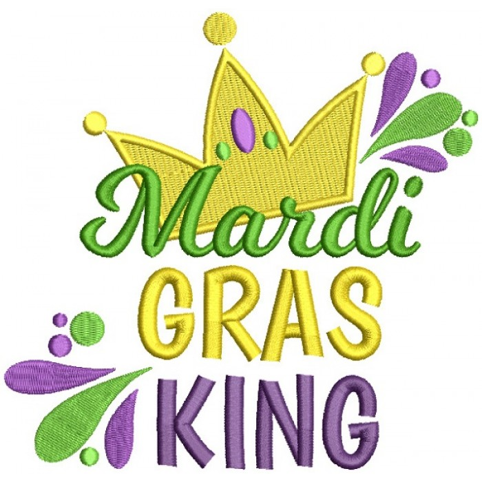 Mardi Gras King Jester Crown Filled Machine Embroidery Design Digitized Pattern