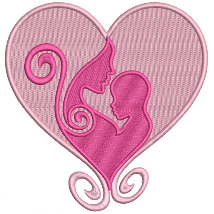 Mommy And A Child Love Heart Filled Machine Embroidery Design Digitized Pattern