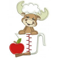 Moose Cook with an Apple Cooking Applique Machine Embroidery Design Digitized Pattern