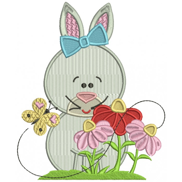 Old Fasion Bunny With Flowers Easter Filled Machine Embroidery Design Digitized