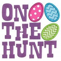 One The Hunt Easter Eggs Applique Machine Embroidery Design Digitized Pattern