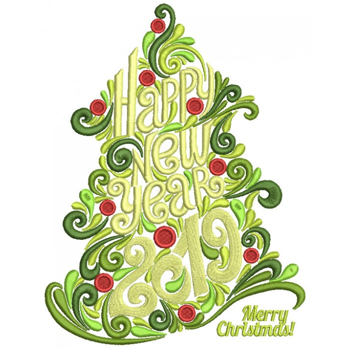Ornate Christmas Tree Happy New Year 2019 Filled Machine Embroidery Design Digitized Pattern