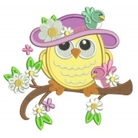 Owl Wearing Big Hat With Flowers Applique Machine Embroidery Design Digitized Pattern