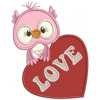 Owl With a Huge Heart Applique Valentine's Day Machine Embroidery Design Digitized Pattern