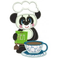 Panda Cook Holding Tea Bag Applique Machine Embroidery Design Digitized Pattern