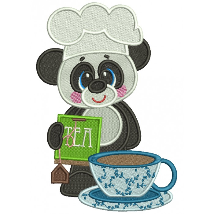 Panda Cook Holding Tea Bag Filled Machine Embroidery Design Digitized Pattern