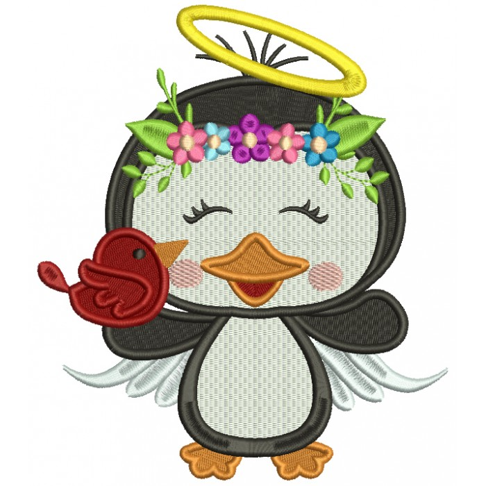 Penguin Angel Holding a BIrd Filled Christmas Machine Embroidery Design Digitized Pattern