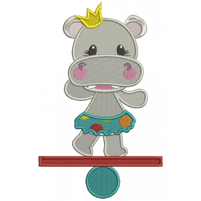 Princess Hippo Circus Filled Machine Embroidery Design Digitized Pattern
