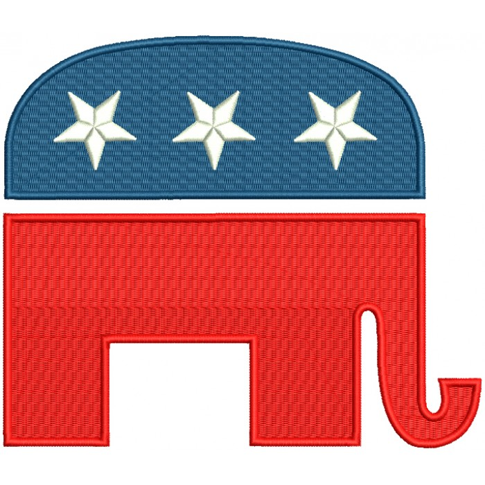 Republican Party Elephant Political Filled Machine Embroidery Design Digitized