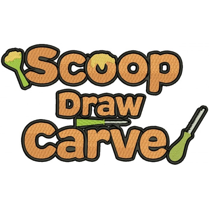 Scoop Draw Carve Halloween Filled Machine Embroidery Design Digitized Pattern