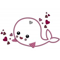 Smiling Whale With Heart Applique Machine Embroidery Design Digitized Pattern