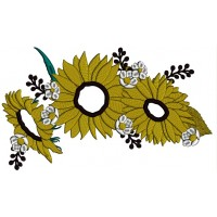 Three Sunflowers Fall Thanksgiving Applique Machine Embroidery Design Digitized Pattern