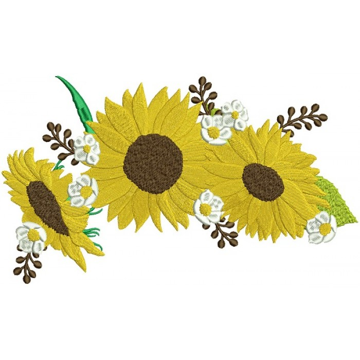 Three Sunflowers Fall Thanksgiving Filled Machine Embroidery Design Digitized Pattern