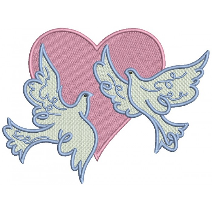 Two Doves And The Heart Filled Machine Embroidery Design Digitized Pattern