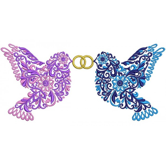 Two Ornate Doves Holding Wedding Rings Filled Machine Embroidery Design Digitized Pattern