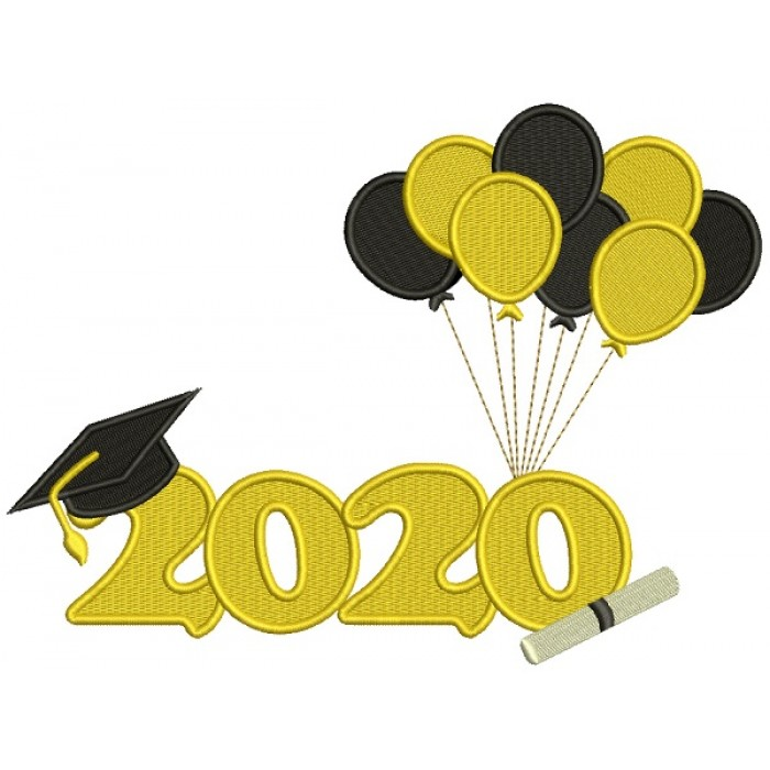 2020 Graduation Cap With Baloons School Filled Machine Embroidery Design Digitized Pattern