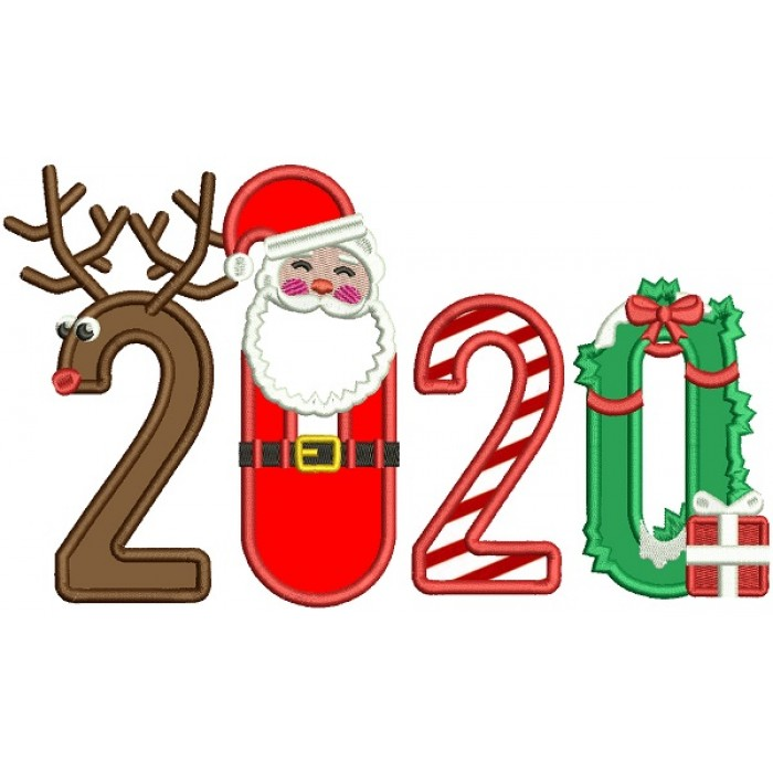 2020 Happy New Year Santa Applique Machine Embroidery Design Digitized Pattern