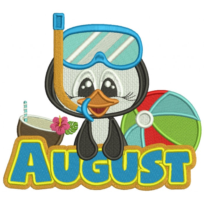 August Penguin With a Beach Ball Filled Machine Embroidery Design Digitized Pattern