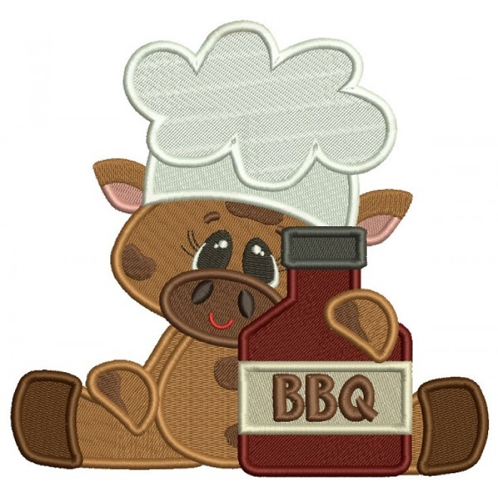 BBQ Little Chef Bull Filled Machine Embroidery Design Digitized Pattern