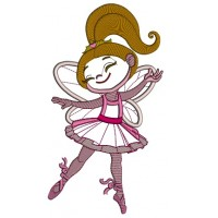 Ballerina wearing butterfly wings Applique Machine Embroidery Design Digitized Pattern