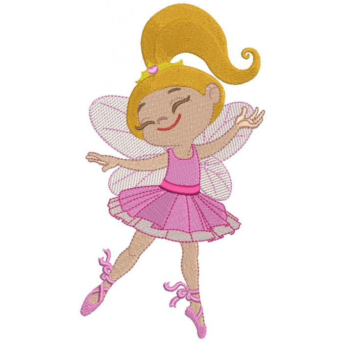 Ballerina wearing butterfly wings Filled Machine Embroidery Design Digitized Pattern