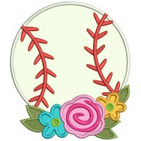 Baseball With Beautiful Flowers Applique Machine Embroidery Design Digitized Pattern