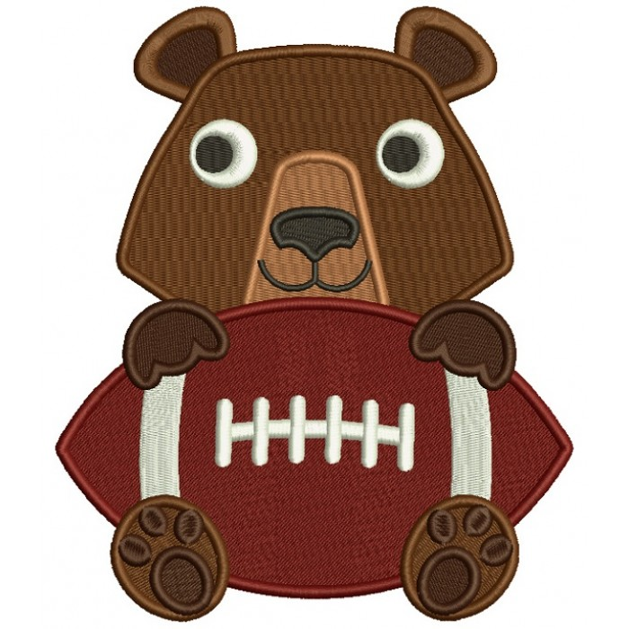 Bear With a Football Filled Machine Embroidery Design Digitized Pattern