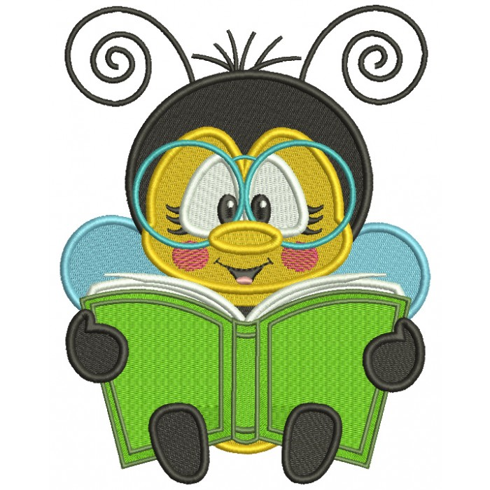 Bee Reading a Book School Filled Machine Embroidery Design Digitized Pattern