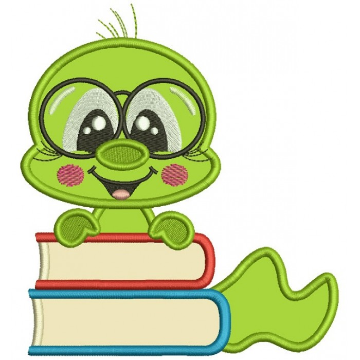 Bookworm With Books Applique Machine Embroidery Design Digitized Pattern