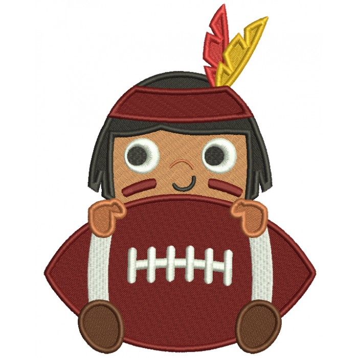 Boy Indian With a Football Sports Filled Machine Embroidery Design Digitized Pattern