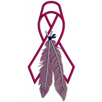 Breast Cancer Awareness Ribbon With Feathers Applique Machine Embroidery Design Digitized Pattern