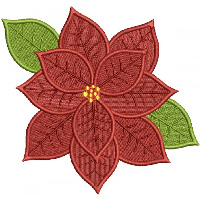 Christmas Flower Filled Machine Embroidery Design Digitized Pattern