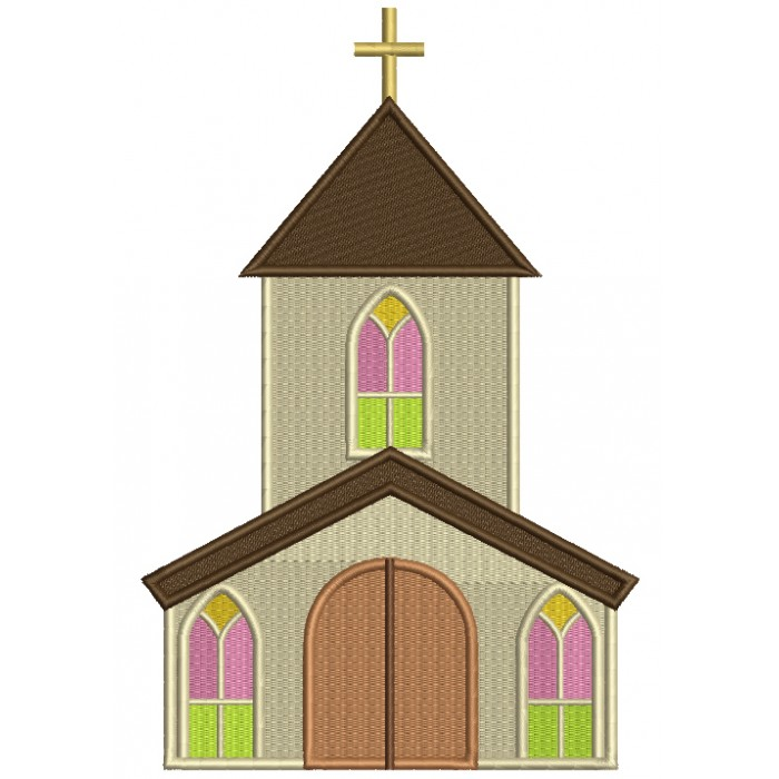 Church Building Filled Religious Machine Embroidery Design Digitized Pattern