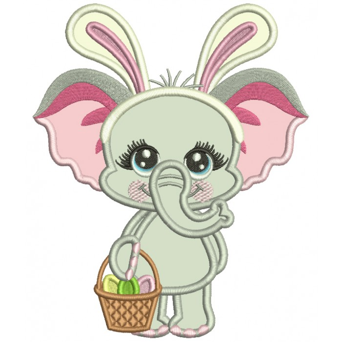 Cute Baby Elephant Wearing Bunny Ears With Easter Eggs Applique Machine Embroidery Design Digitized Pattern