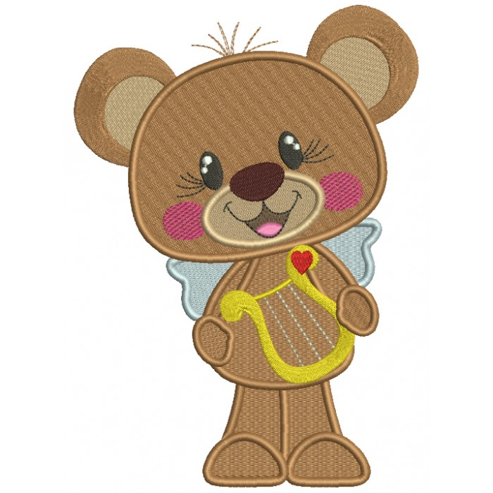 Cute Bear Holding a Musical Instrument Filled Machine Embroidery Design Digitized Pattern