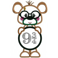 Cute Bear Looks Like Harry Potter Holding Sign With Platform Nine and Three Quarters Applique Machine Embroidery Design Digitized Pattern