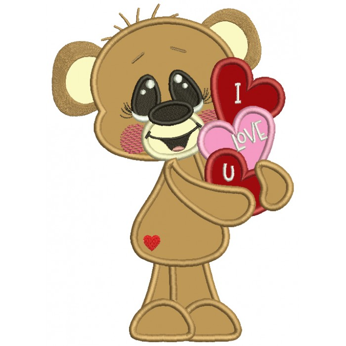Cute Boy Bear Holding I Love You Hearts Applique Machine Embroidery Design Digitized Pattern