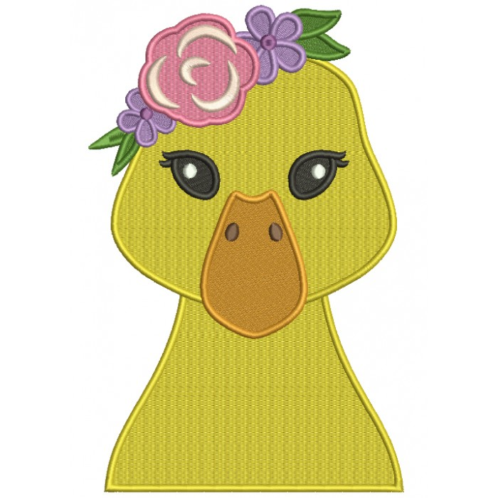 Cute Duck Head With Flowers Filled Machine Embroidery Design Digitized Pattern