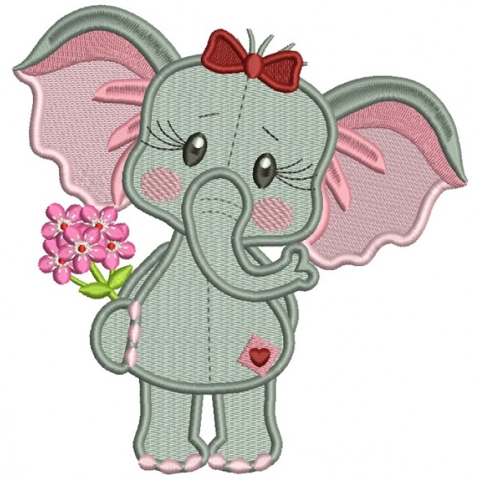 Cute Girl Elephant Holding Flowers Filled Machine Embroidery Design Digitized Pattern