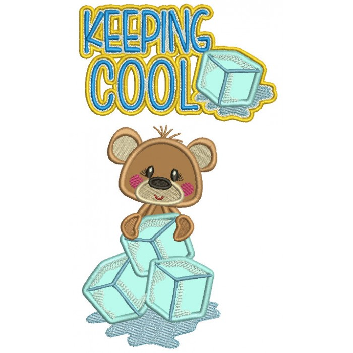 Cute Little Bear Holding Blocks Of Ice Keeping It Cool Applique Machine Embroidery Digitized Design Pattern