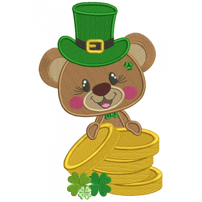 Cute Little Bear Holding Gold Coins St. Patrick's Filled Machine Embroidery Design Digitized Pattern